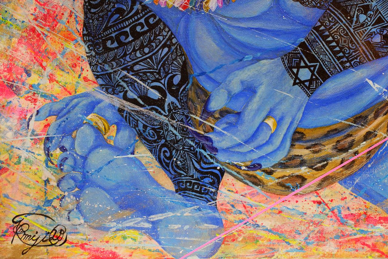 『 A different perspective 〜MOMOTARO〜 』 acrylic on canvas (45.5cm×60.6cm/P12)