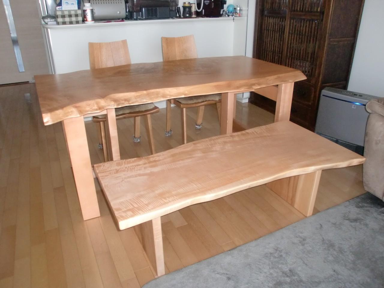 とち一枚板 ダイニングテーブル&ベンチ