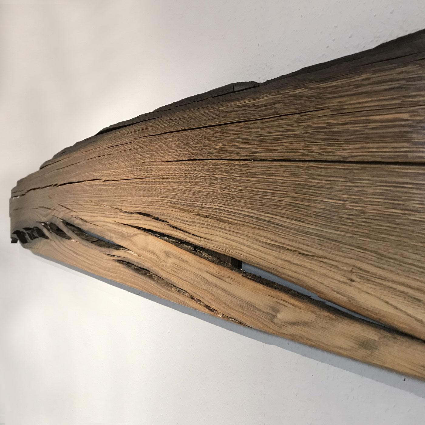 Gesprungene Bohle aus Moorholz als Wandobjekt