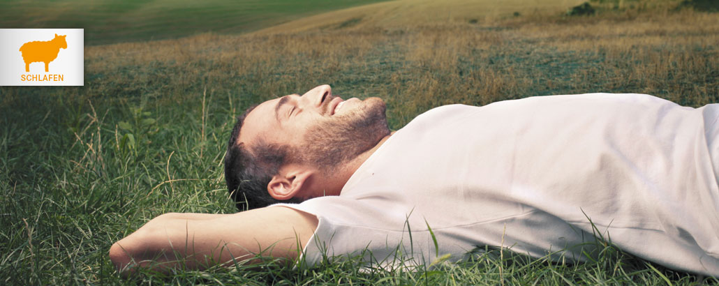 Gesund Schlafen – Mann liegt entspannt im Gras
