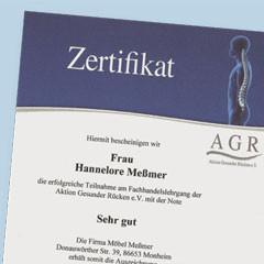 """Zertifikat """"Aktion Gesunder Rücken"""" für Hannelore Meßmer"""