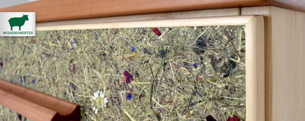 Almheu-Beschichtungen – Naturoberfläche, mit echten Almkräutern beschichtet, eingearbeitet in eine Kommode aus Zirbenholz