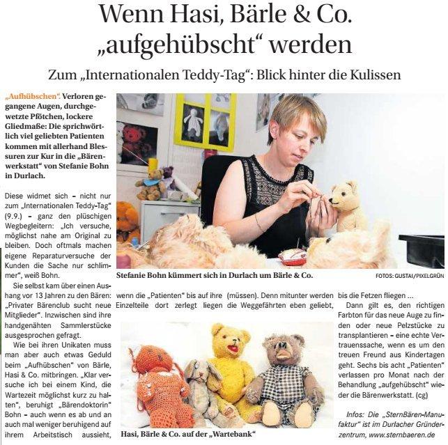 """Bericht in der regionale Zeitung """"Wochenblatt"""" vom 14.09.2016"""