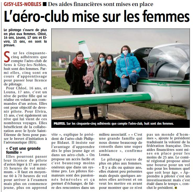 Aéro-club de Sens - 5 femmes pilote de l'aéroclub à l'honneur dans l'Yonne Républicaine du 29/03/2021