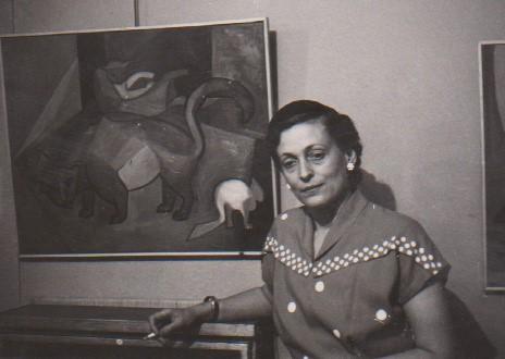 Julie op de expositie van haar werk in Voorschoten (1963)