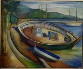 Eenzame boten in haven Brindisi (Parijs, 1937), olieverf, 37x45 cm