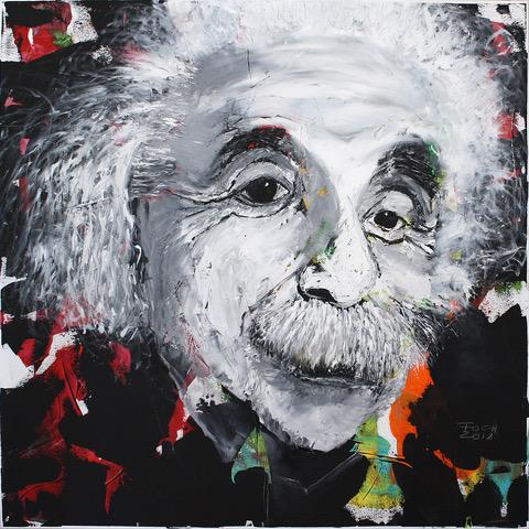 Einstein, Öl/Acryl auf Leinwand 100 x 100