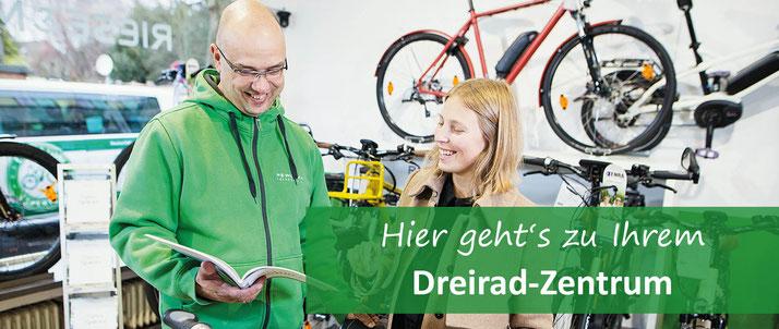 Testen Sie Dreirad Fahrräder bei einer Probefahrt im Dreirad-Zentrum in Würzburg