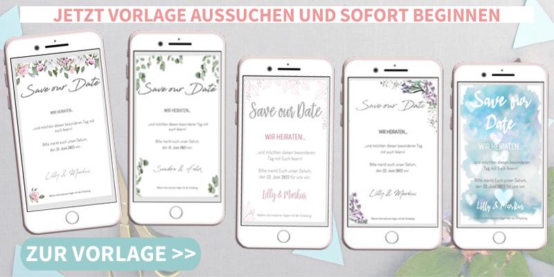 Hochzeit ankündigen, Save the Date Karte,Handy, Smartphone, SMS, WhatsApp, Email, Elektronische Save the Date