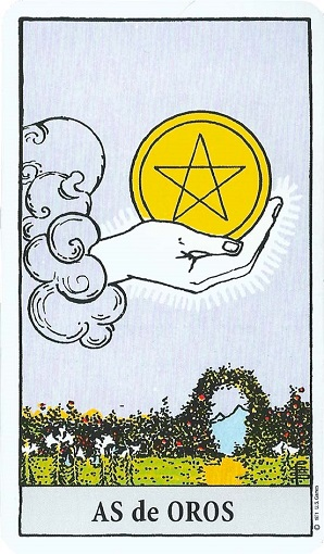 As de oros (pentacles, pentáculos) baraja de tarot interpretación