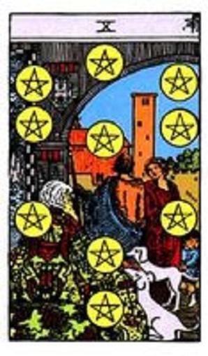 Diez de oros (pentacles, pentáculos) baraja de tarot interpretación