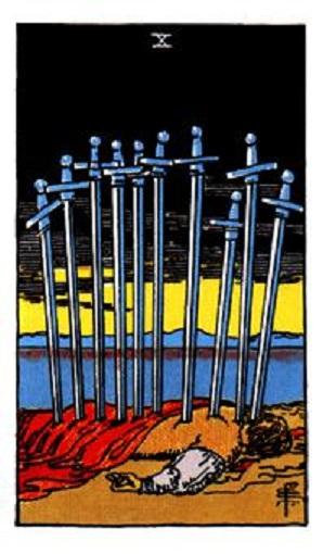Diez de espadas baraja de tarot interpretación