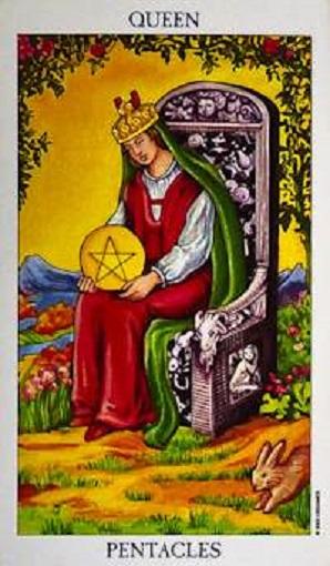 Reina de oros (pentacles, pentáculos) baraja de tarot interpretación