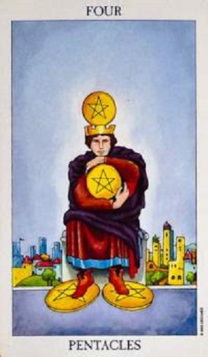 Cuatro de oros (pentacles, pentáculos) baraja de tarot interpretación