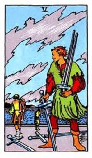 Cinco de espadas baraja de tarot interpretación