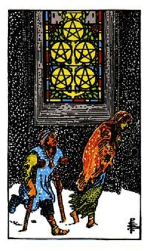 Cinco de oros (pentacles, pentáculos) baraja de tarot interpretación