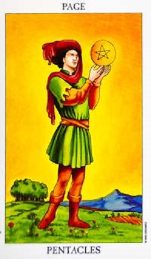 Sota de oros (pentacles, pentáculos) baraja de tarot interpretación