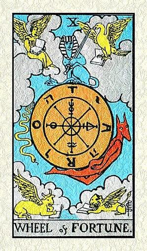 La rueda de la fortuna número 10 en la baraja de tarot, interpretación
