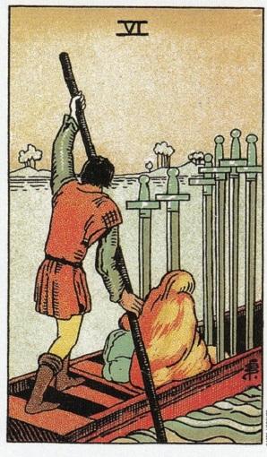 Seis de espadas baraja de tarot interpretación
