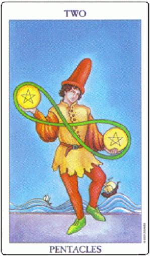 Dos de oros (pentacles, pentáculos) baraja de tarot interpretación