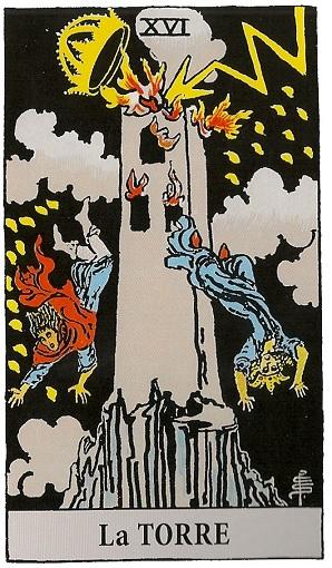 16. La Torre Baraja de Tarot interpretación
