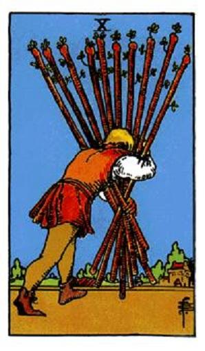 Diez de bastos baraja de tarot interpretación