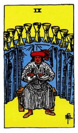 Nueve de copas baraja de tarot interpretación