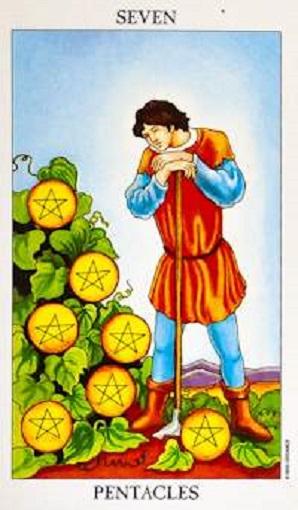 Siete de oros (pentacles, pentáculos) baraja de tarot interpretación