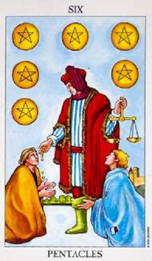Seis de oros (pentacles, pentáculos) baraja de tarot interpretación