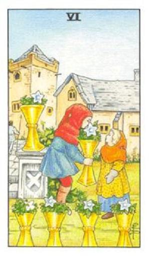 Seis de copas baraja de tarot interpretación