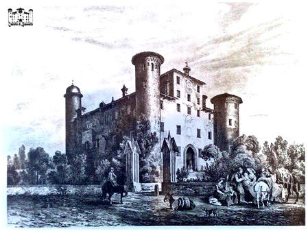 Veduta del Castello di Bonavalle, riproduzione su stampa di Enrico Gonin, 1854
