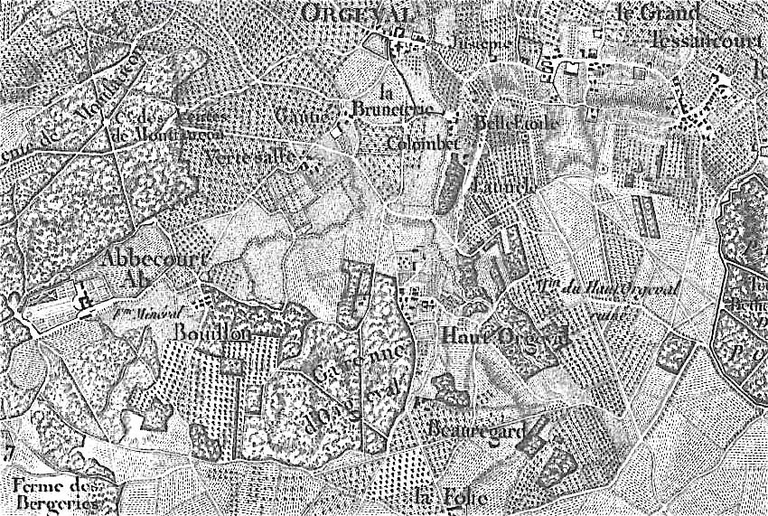 Carte des chasses,Gravure Tardieu l'Ainé Doudan et Bouclet, 1764-1774 - Source: Archives 78
