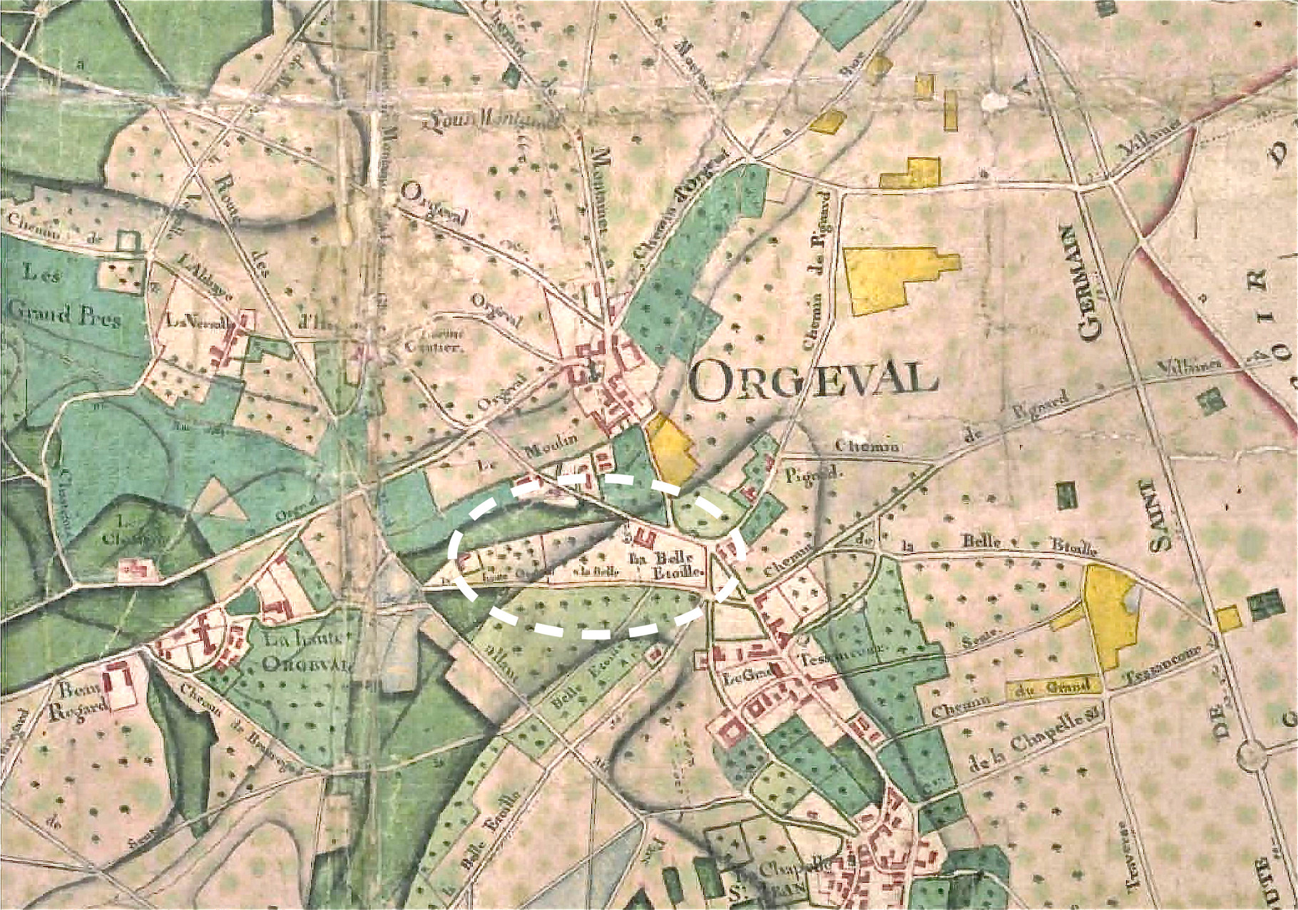 Plan d'intendance de la paroisse d'Orgeval, 1787 - Source: Archives 78