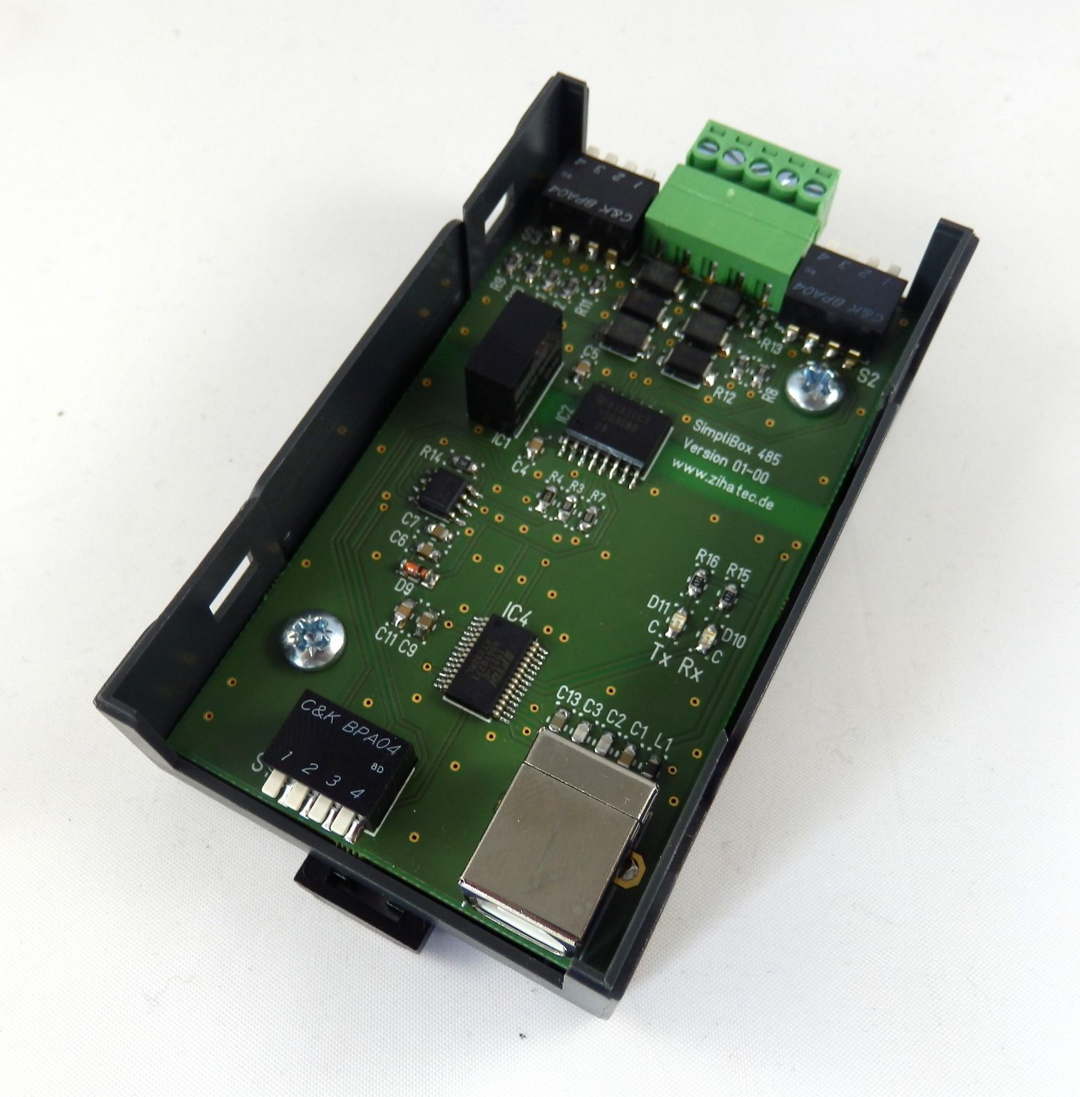 SimpliBox 485 - pcb assembled  in bottom shell