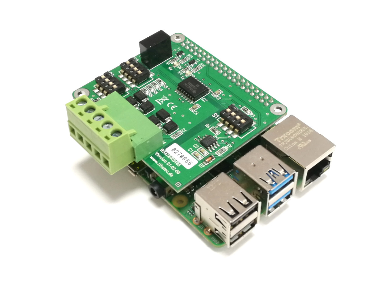 RS422/485 HAT (standard) with Raspberry Pi 4B
