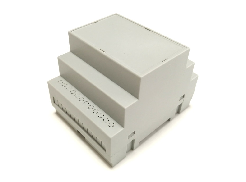Enclosure side view with grey lid