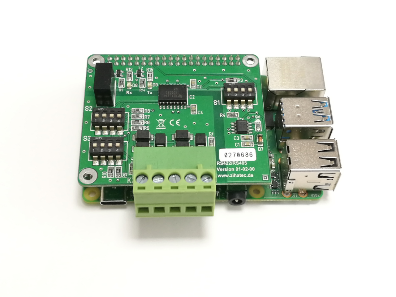 RS422/485 Shield (standard) with Raspberry Pi 4B