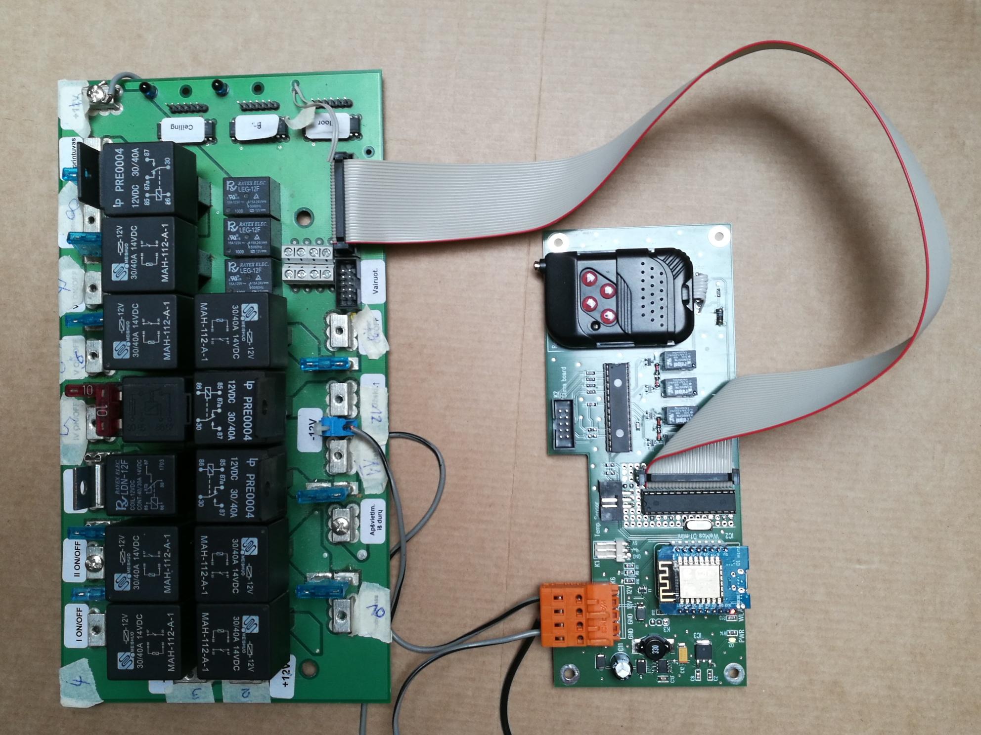 Controlboard mit angeschlossener Relaisplatine