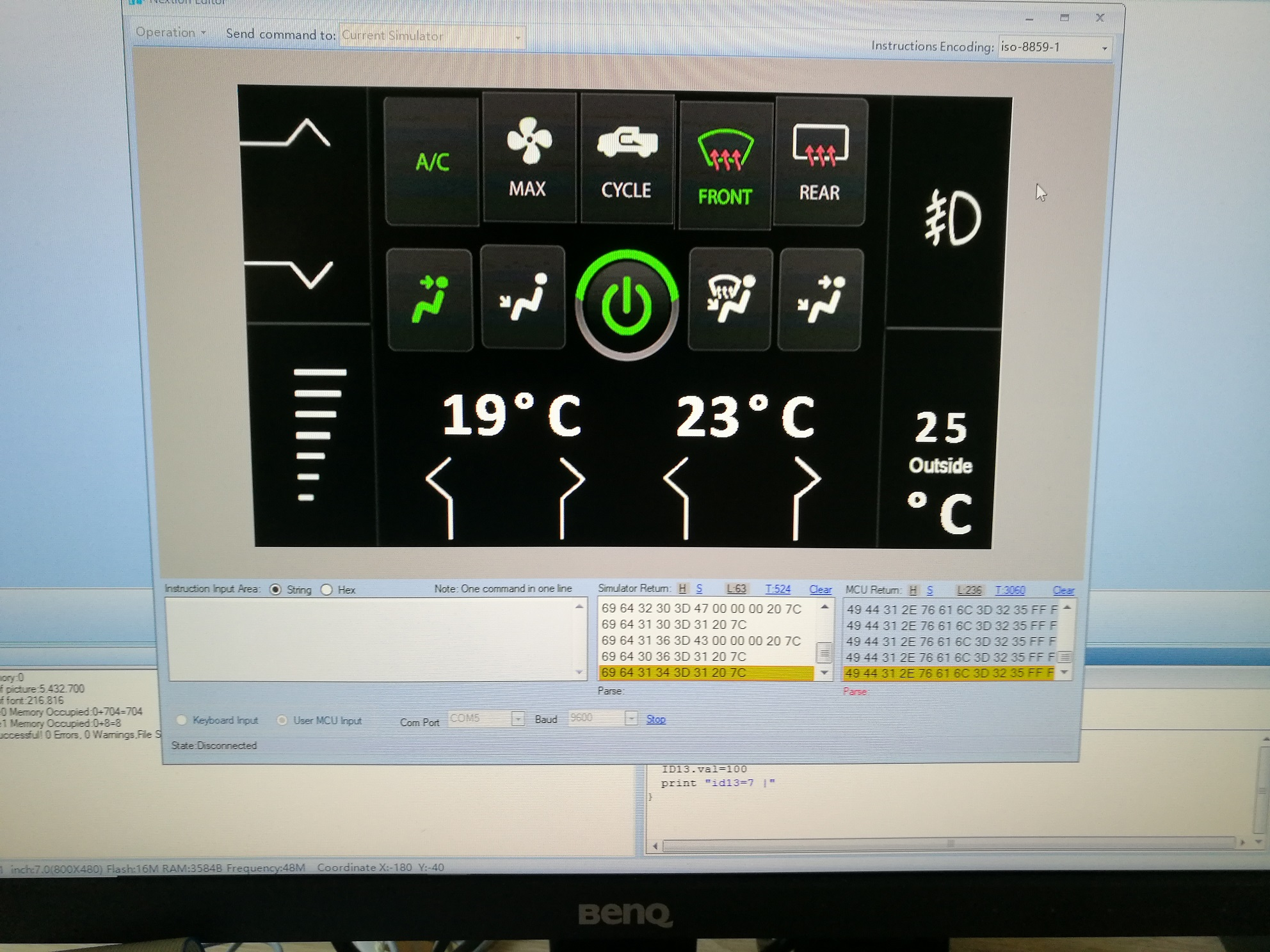 GUI for HVAC car control