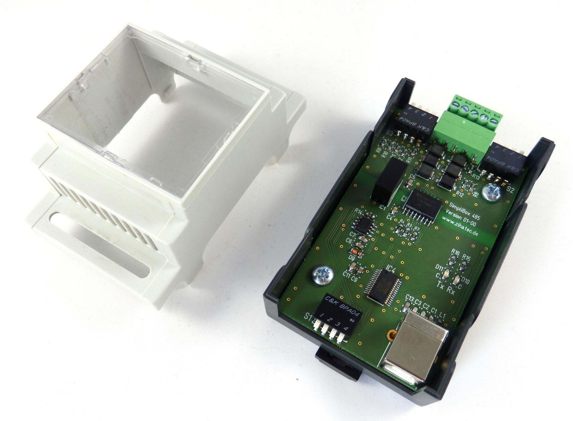 SimpliBox 485 Platine montiert mit Gehäuseoberteil
