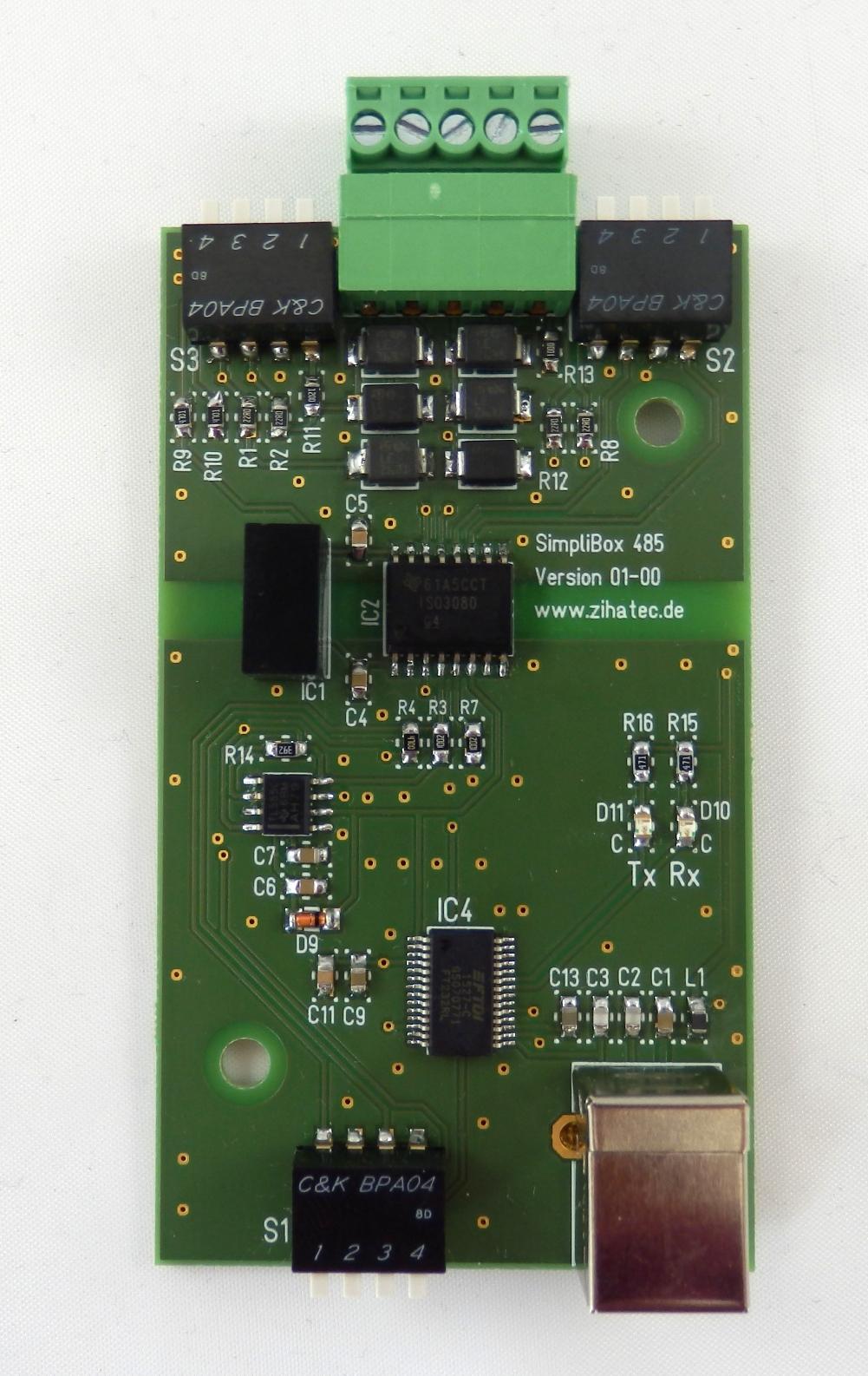 SimpliBox 485 - assembled pcb