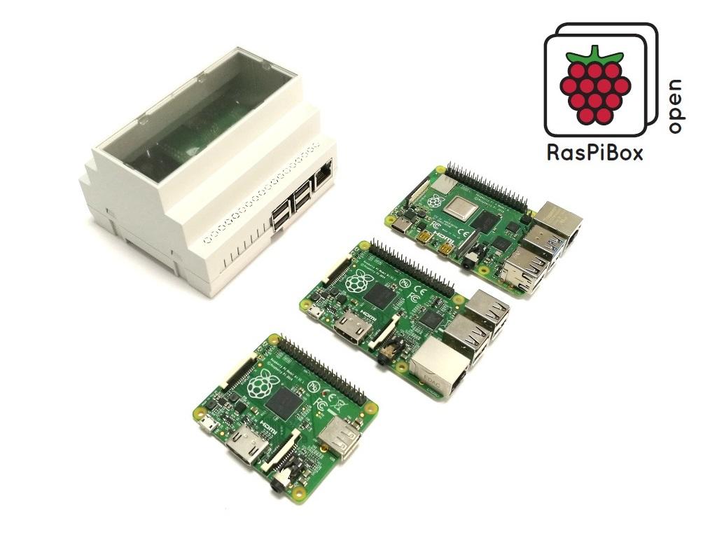 RasPiBox Open cap rail / DIN rail enclosure kit for Raspberry Pi