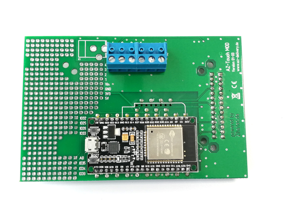 pcb bottom view with mounted ESP32 DEV KIT C