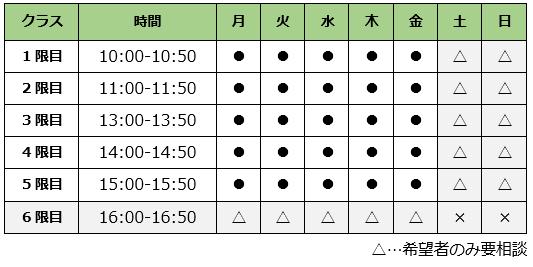 芦屋市商工会パソコン教室時間割表画像