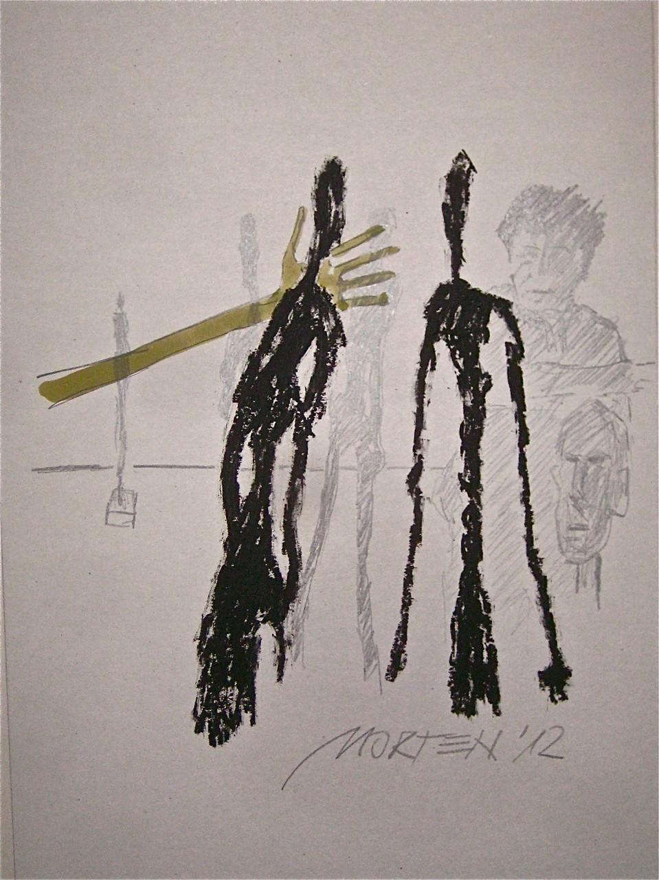 GIACOMETTI IM ATELIER, 2012, Johannes Morten, Acryl, Graphit und Ölkreide auf Pappe (Verkauft)