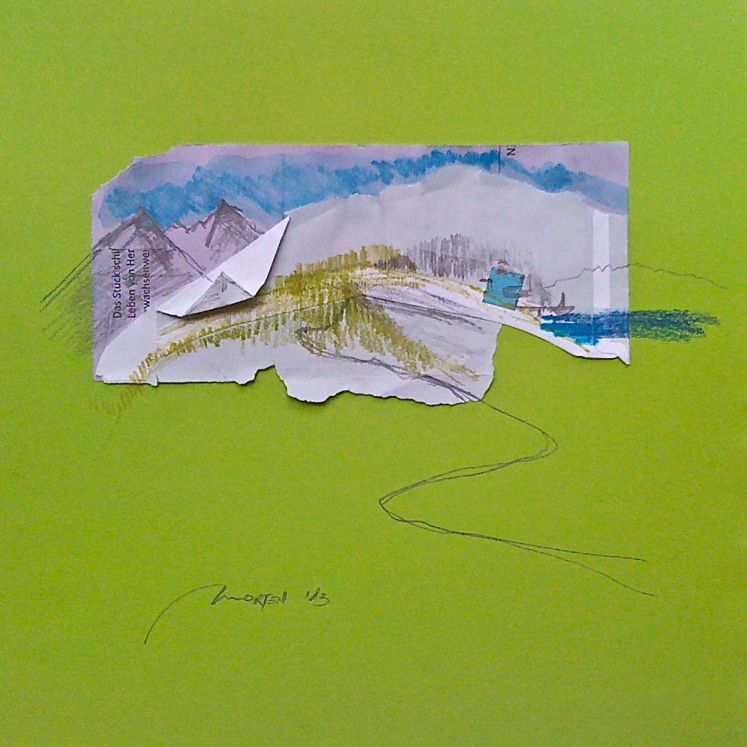 Heimat Zyklus: Haus zwischen Berg und See, Collage, 25x25cm, 2013