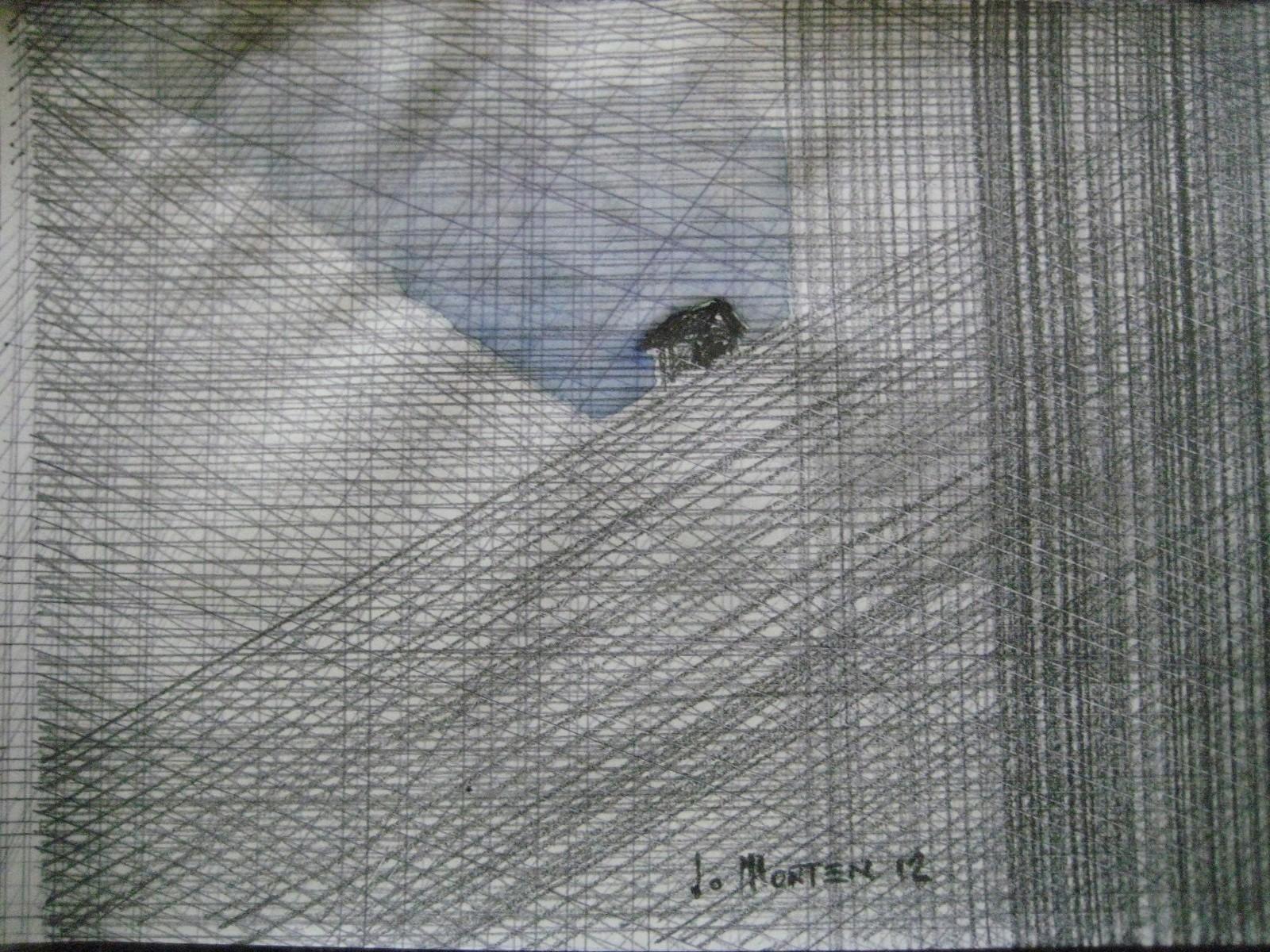 HAUS IM BERG, 2011, Johannes Morten, 10,5 x 14,8 cm, Aquarell und Graphit auf Papier