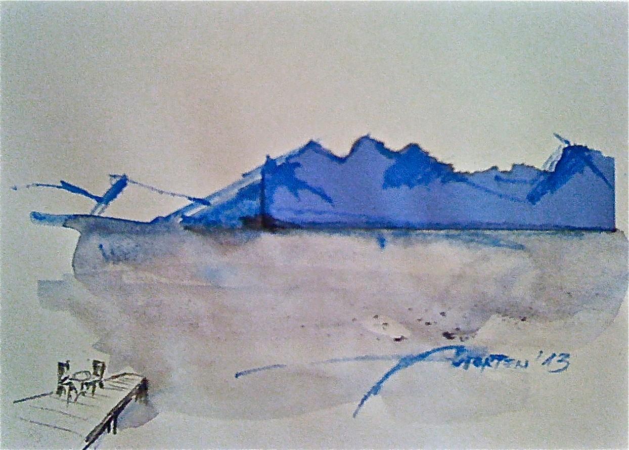 O. T. (ATTERSEE ERAHNEN), 2013, Johannes Morten, 10,5 x 14,8 cm, Acryl, Aquarell und Pappe auf Papier