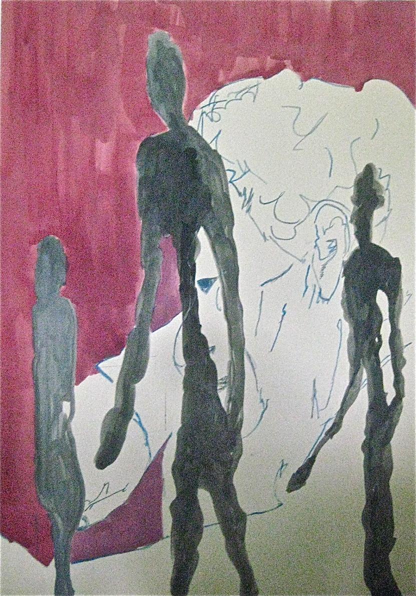 Giacometti hinter Skulpturen, Acryl, 70x100cm, 2011