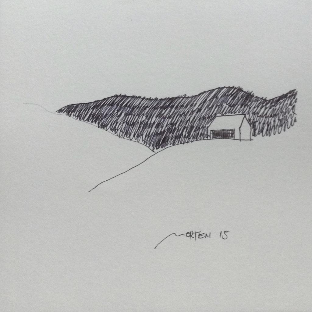 ARCHITEKTUR DER LANDSCHAFT, 2015, Johannes Morten, 10 x 10 cm, Tinte & Acryl auf Papier